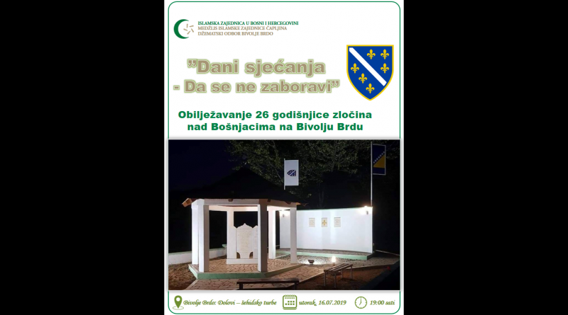 Obilježavanje 26 godišnjice zločina nad Bošnjacima na Bivolju Brdu